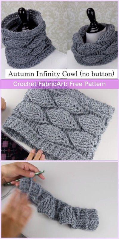 Crochet Autumn Leaf Cowl Free Patterns-Video Tutorials | Schals ...