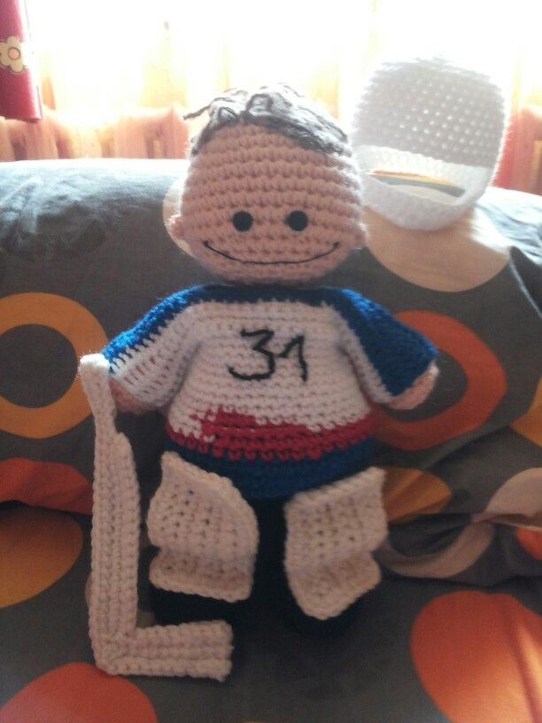 Crochet ice hockey player, my work :) | Knitted dolls ...