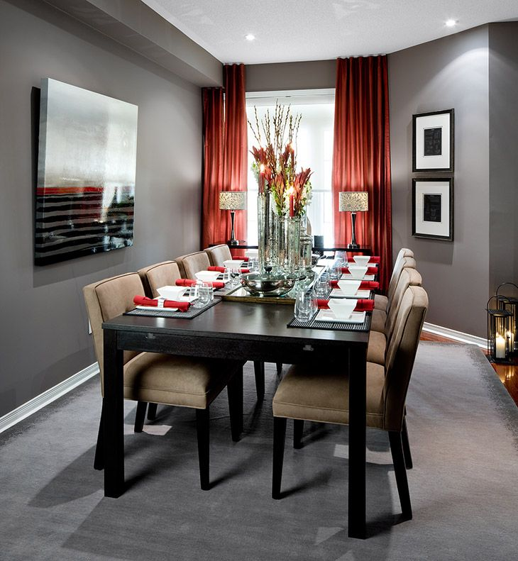 une belle salle manger design gris rouge d co noir maison http www m. Black Bedroom Furniture Sets. Home Design Ideas
