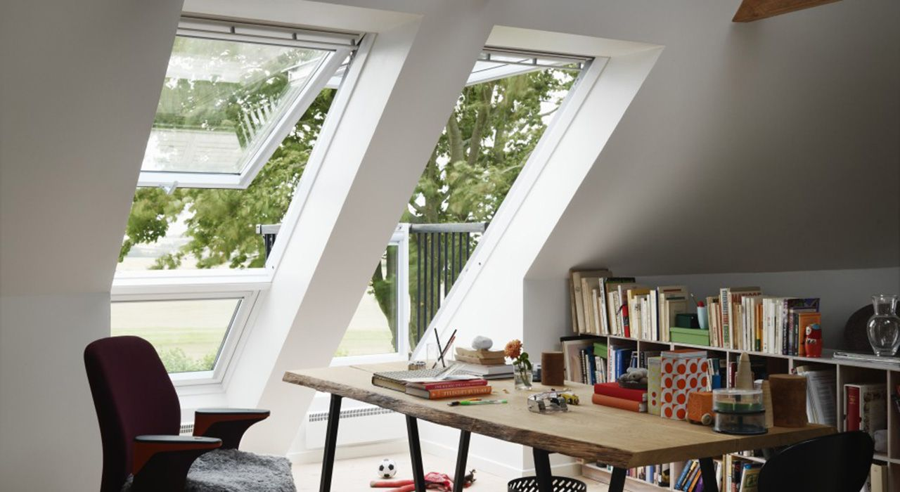 Enjoy A Balcony Instantly Velux Skylights Goes From Roof Window To Balcony In Seconds Distributed By Casco Industries Inc Rustic Home Offices Roof Window Loft Spaces