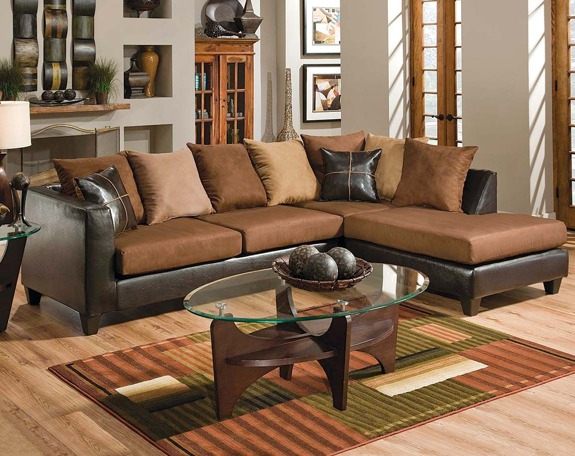 This Brown Sectional Features A Chaise Comfortable Cushions And Plush Throw Pillows We Offer Same Day Delivery Free Layaway