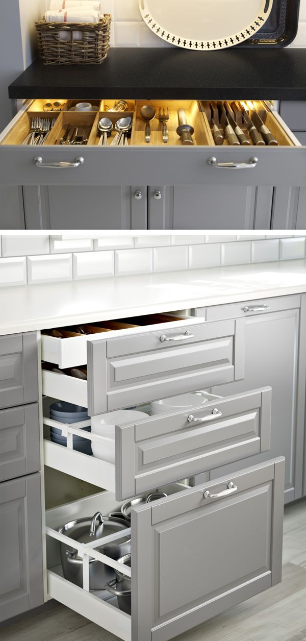 Create the kitchen of your dreams with ikea sektion kitchens make finding what you need easier with convenient organizers and in drawer lighting