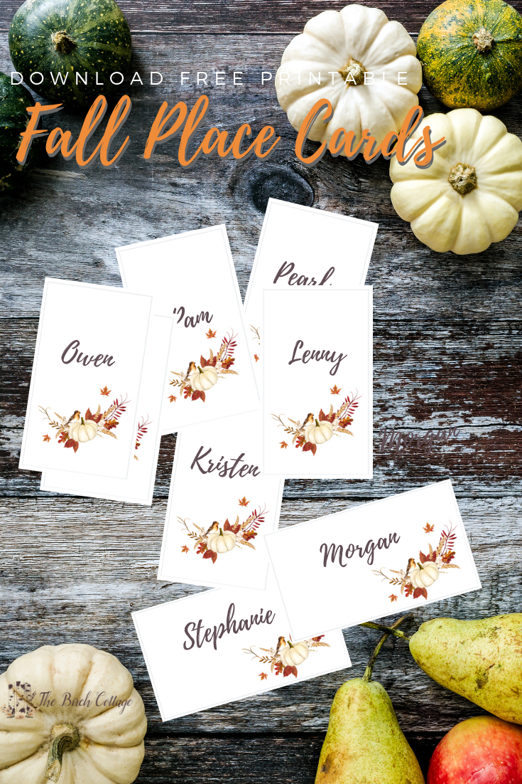 Free Fall Printable Place Cards & Thanksgiving Tablescape Ideas