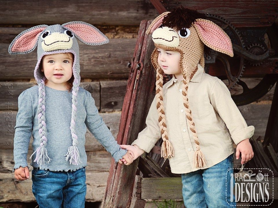 Donkey Animal Hat Crochet Pattern for boys and girls of all ages by IraRott 6259adf6a45c