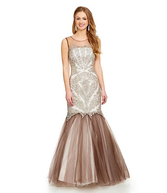 1a1b9d3c9ff Glamour by Terani Couture Illusion Beaded Trumpet Gown