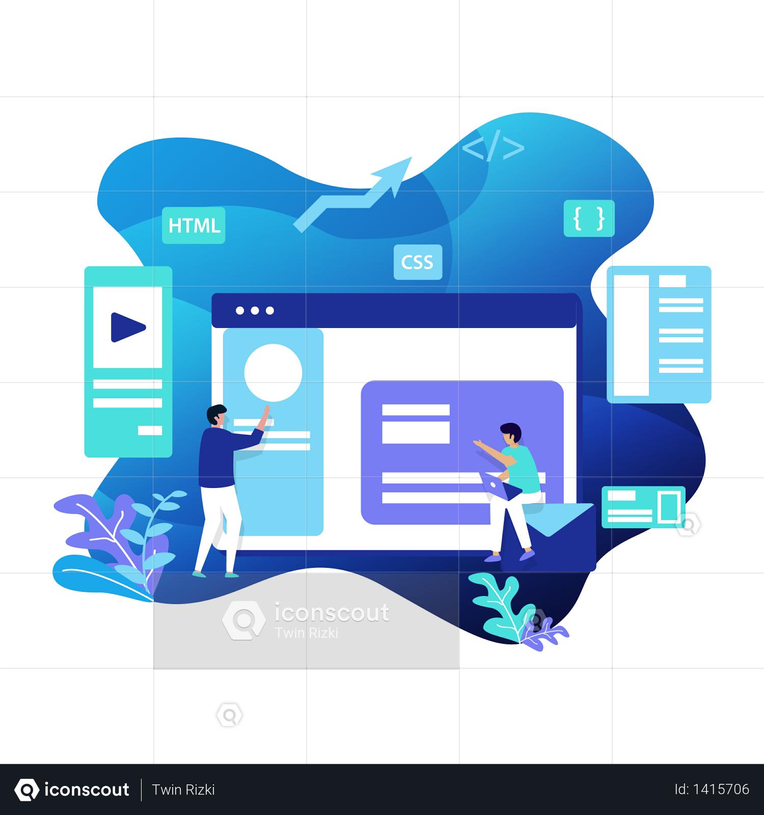 Web Development Illustration Illustration In 2020 Web Development Web Design Trends Graphic Design Resume