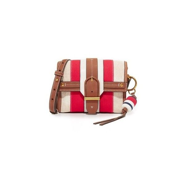 912c0403b43 Tory Burch Striped Canvas Cross Body Bag (€275) ❤ liked on Polyvore  featuring