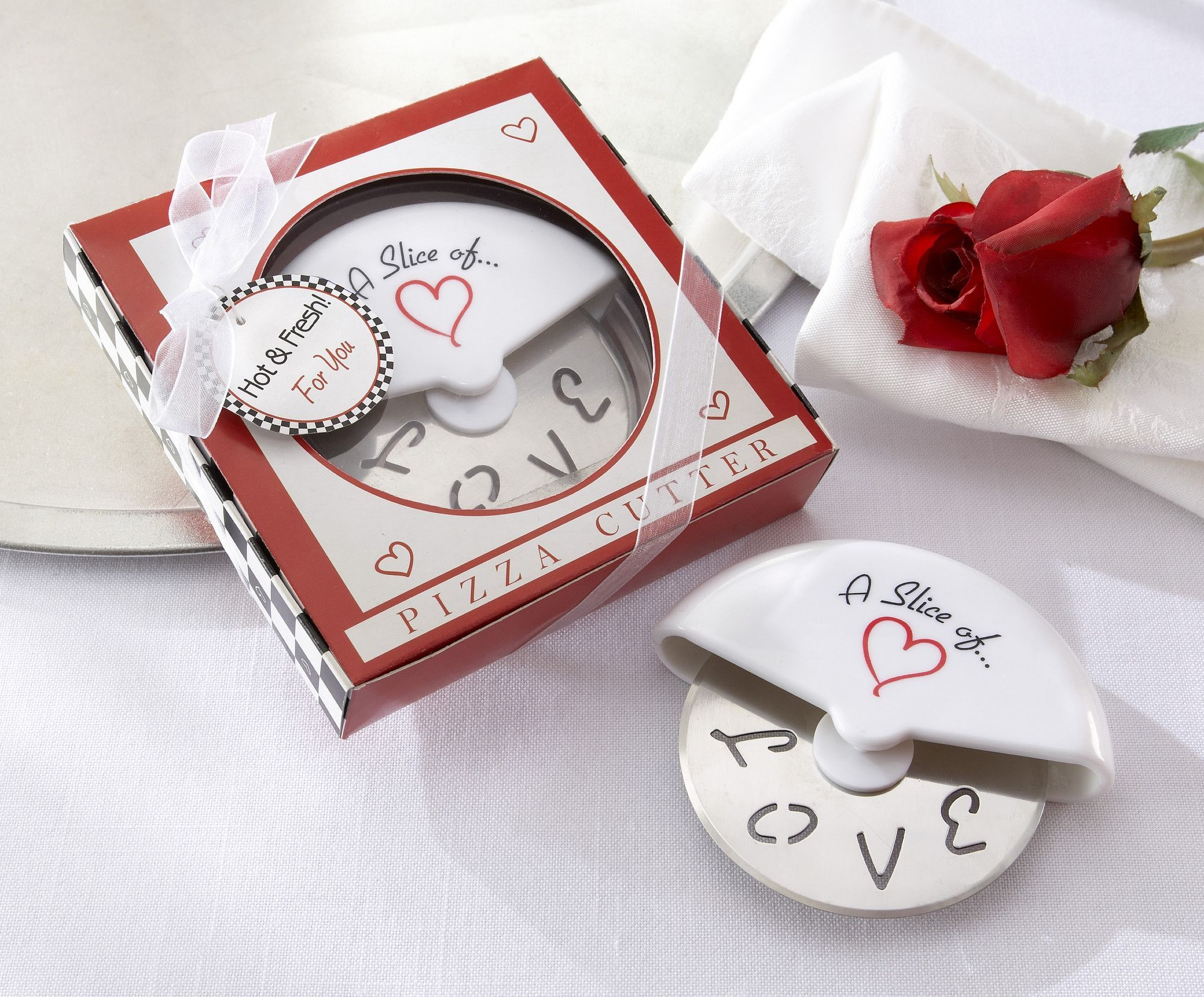 A Slice of Love\'\' Pizza Cutter in Miniature Pizza Box (Set of 10 ...