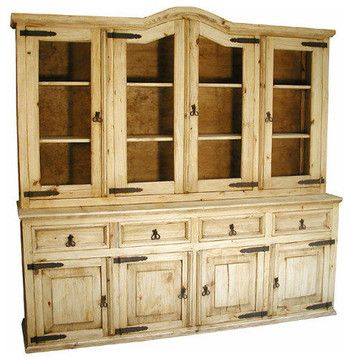 Rustic Pine Cupboard Traditional Kitchen Cabinets