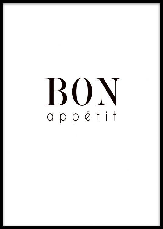 Guten Appetit Französisch poster till köket med texten bon appetit 装饰画 bon