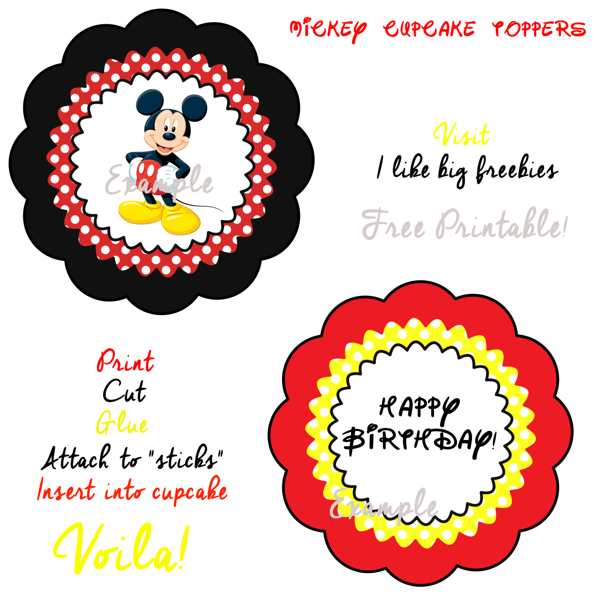 Mickey Mouse Cupcake Toppers Free Printable Mickey Mouse Themed Birthday Party Mickey Mouse Clubhouse Party Free Mickey Mouse Printables