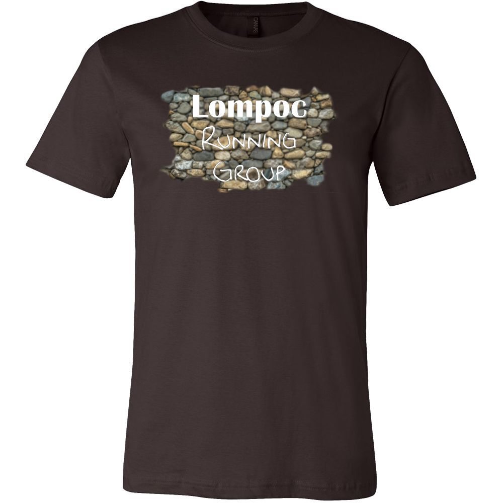 Men's Canvas T-Shirt (Lompoc Running Group Rock) (14 colors to choose from!)