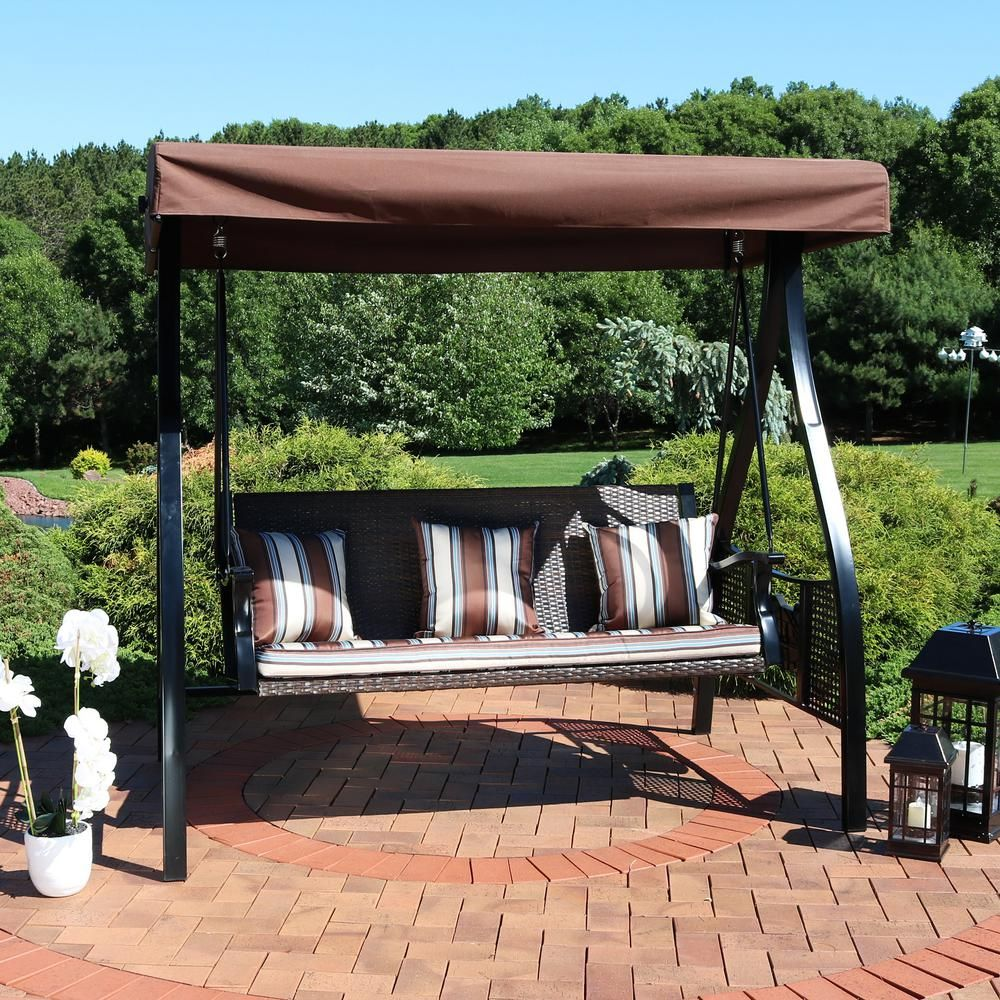 Sunnydaze Decor Deluxe Steel Frame Canopy Porch Swing With Brown