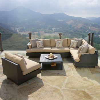 Portofino Comfort™ Espresso & Beige 6-Piece Sectional Set ... on Fine Living Patio Set id=92563