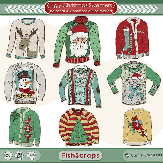 e6a8ad85a Ugly Sweater Christmas Clip Art - Ugly Sweater ClipArt - Tacky Sweater  Digital Graphics - Create your own DIY Printable Holiday Party Invitations!