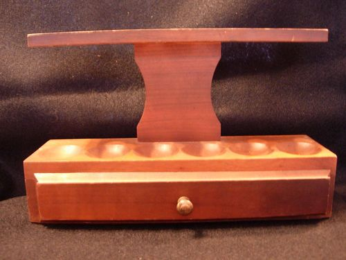 Vintage Wood 6 Pipe Holder Stand Rack with Single Drawer and Pipe Tools