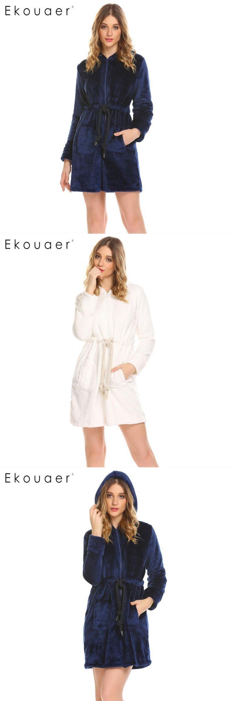 584bf093a5 Women bathrobe sleepwear winter warm robe dressing gown casual hooded long  sleeve zipper bathrobes home wear clothes  women  robes  100%  polyester   above ...