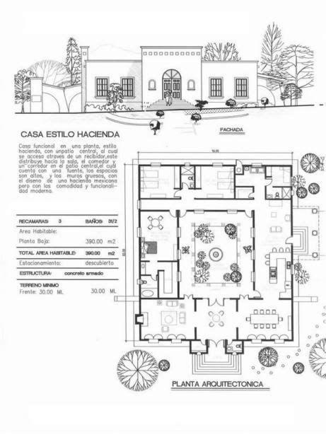 Planos Hacienda Estilo Casas De Mexicanas En 2020 Planos Arquitectonicos De Casas Planos De Casas De Campo Planos De Casas