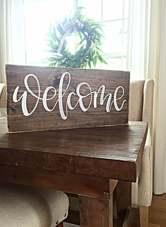 Welcome sign home decor rustic hand painted wood for Best home decor boards on pinterest