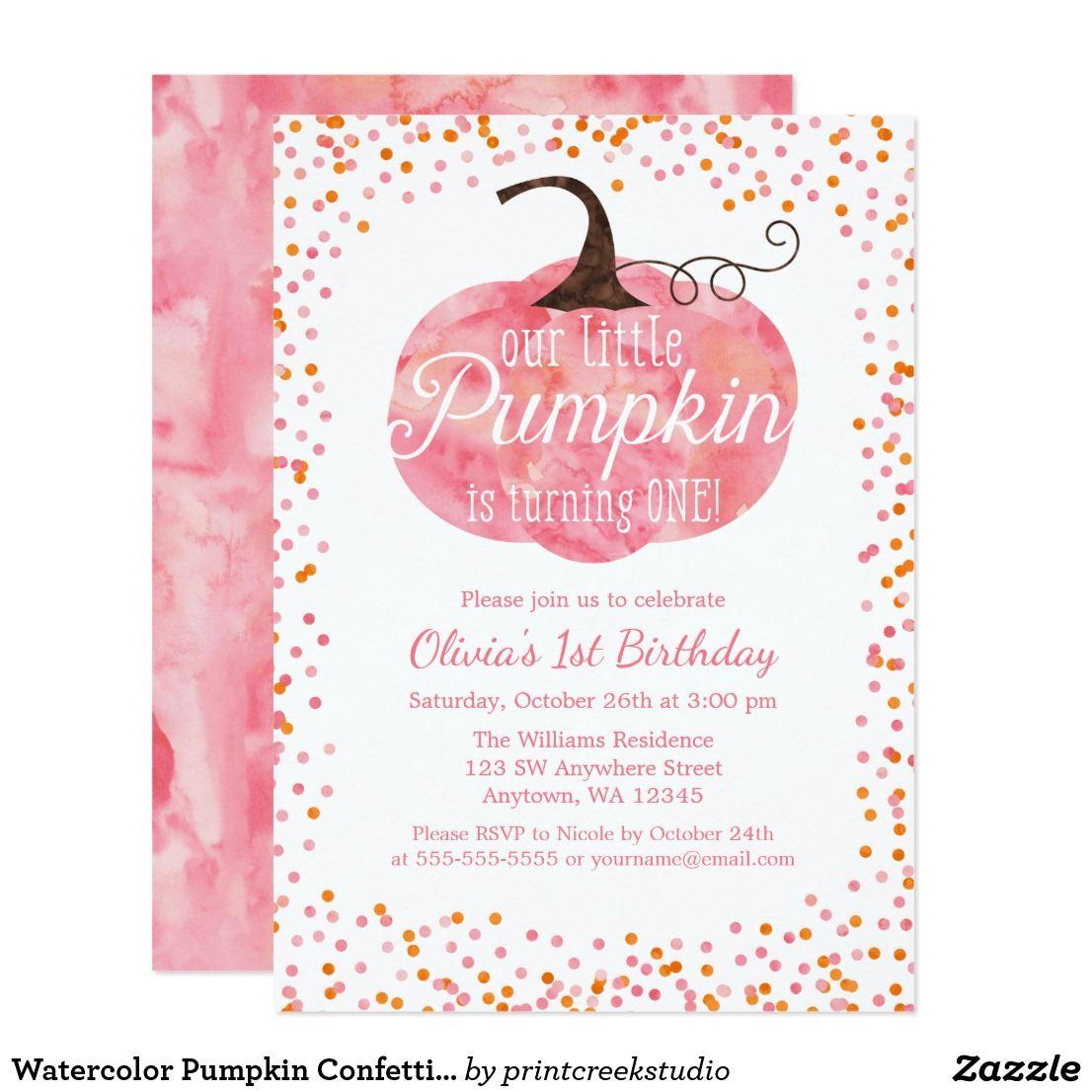 Watercolor Pumpkin Confetti Girl First Birthday Invitation in 2018 ...