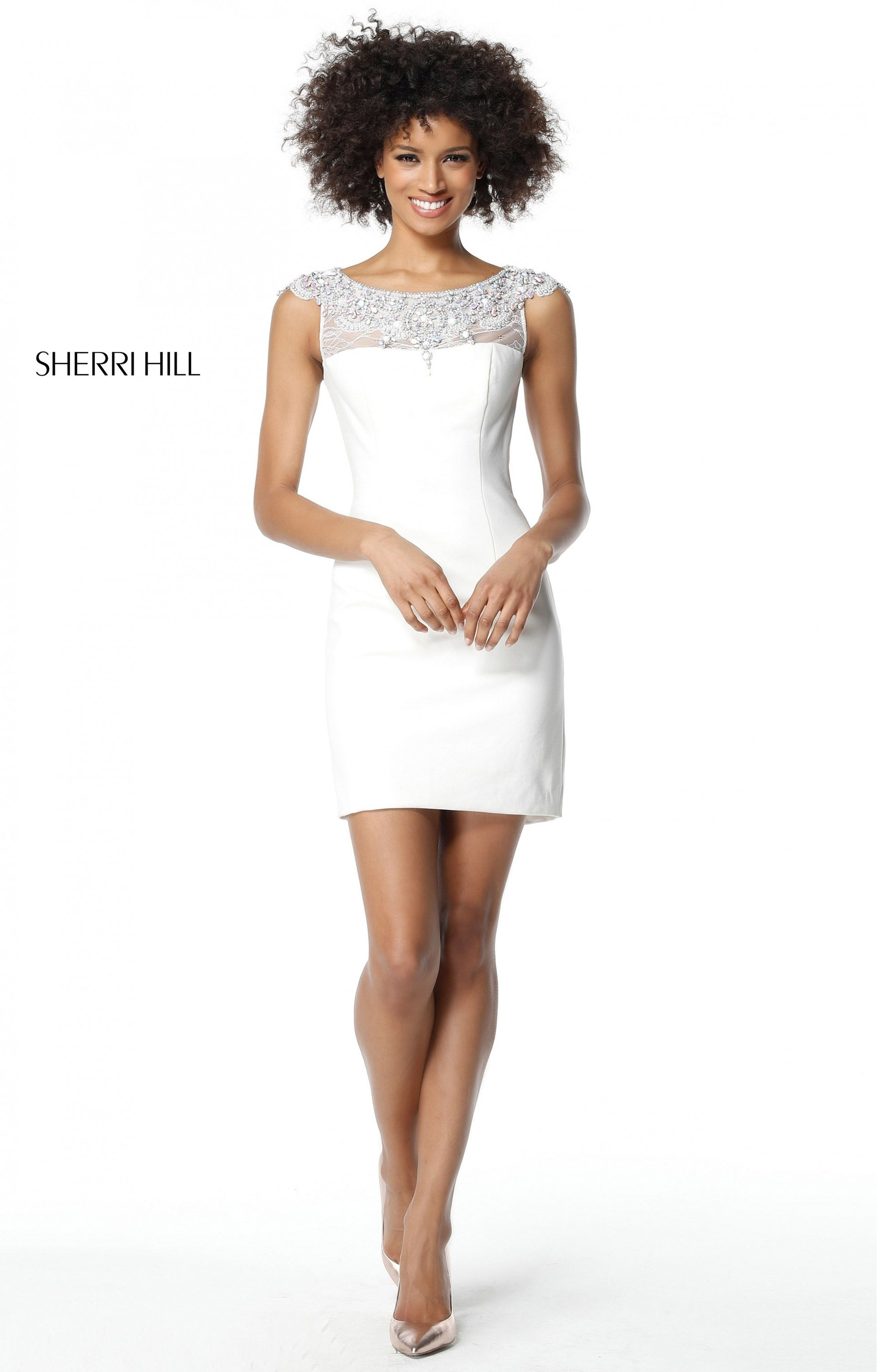 Ivory Sherri Hill 51328 Beaded Mini Open Back Short Pageant Dress