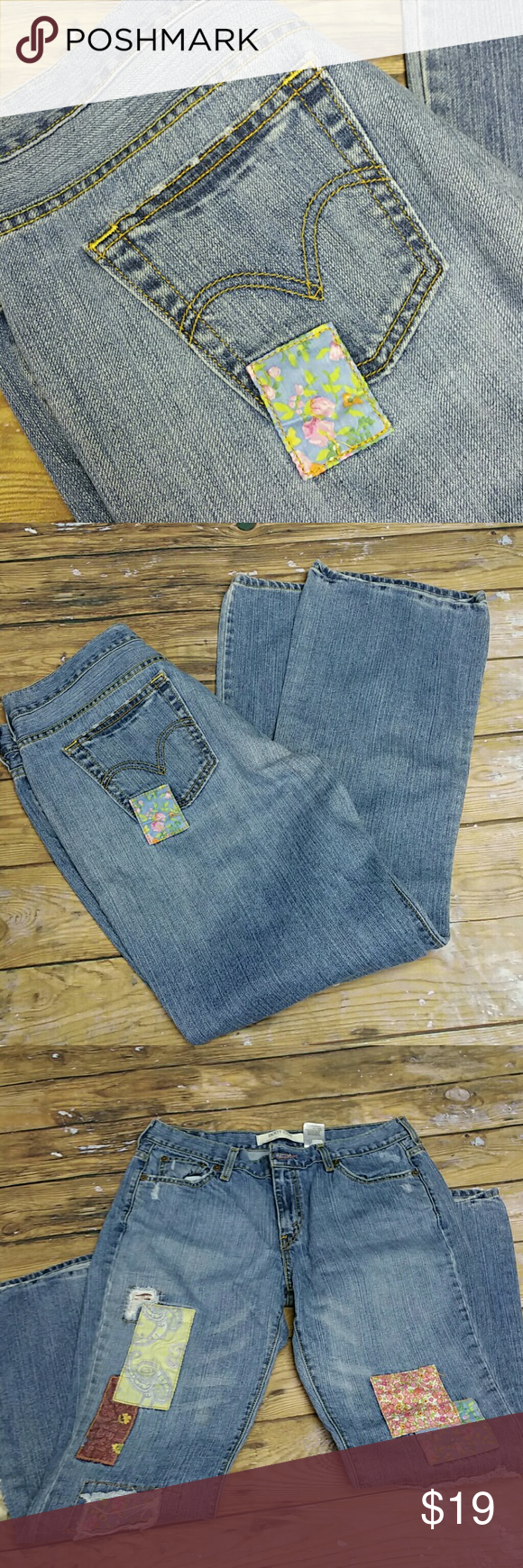 Cute Levis Super cute Levis with patches. 515 boot cut. Levi's Jeans Boot Cut