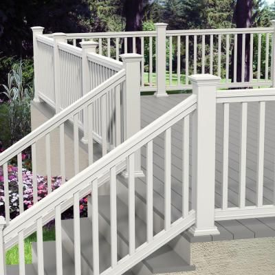 Veranda Pro Rail 6 Ft X 36 In White Polycomposite Stair Rail Kit Without Brackets 73013129 The Home Depot Vinyl Railing Front Porches Railings Outdoor Patio Deck Designs