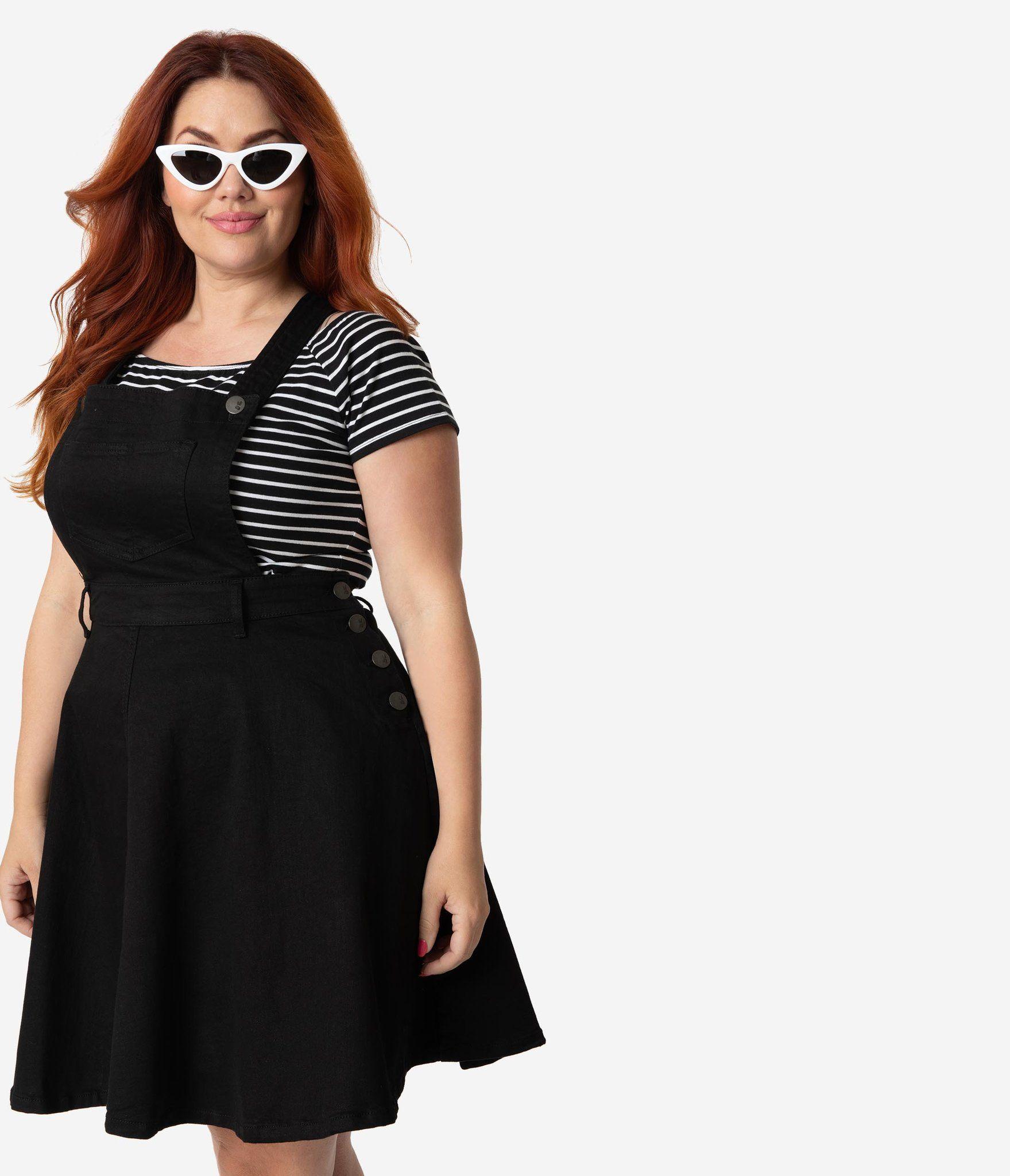 c6d887ccb77621 Hell Bunny Plus Size Black Cotton Denim Stretch Dakota Overall Skirt –  Unique Vintage