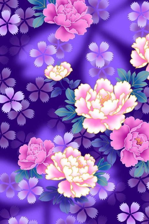 ♥️ Scrapylicious Purple Abstract Floral iPhone Wallpaper ...