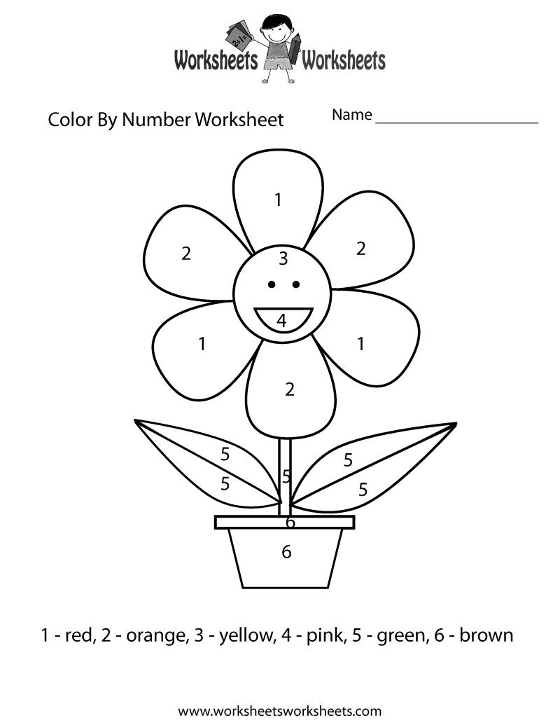 Easy Color By Number Worksheet Printable Number Worksheets Color Worksheets Kindergarten Colors