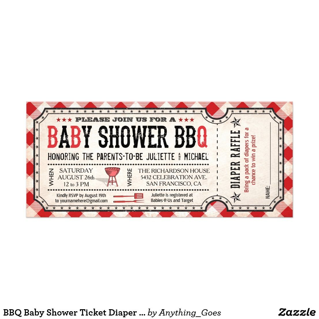 bbq baby shower ticket diaper raffle invitations in 2018 oh baby