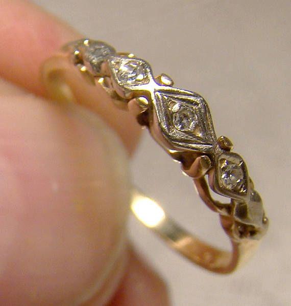 14k 3 Diamonds Row Wedding Band Ring 1940s 14 K Size 4 1