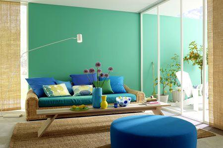 wohnzimmer in türkis und blau - wohnwelten in kräftigen farben 1 ... - Wohnzimmer Farbe Blau