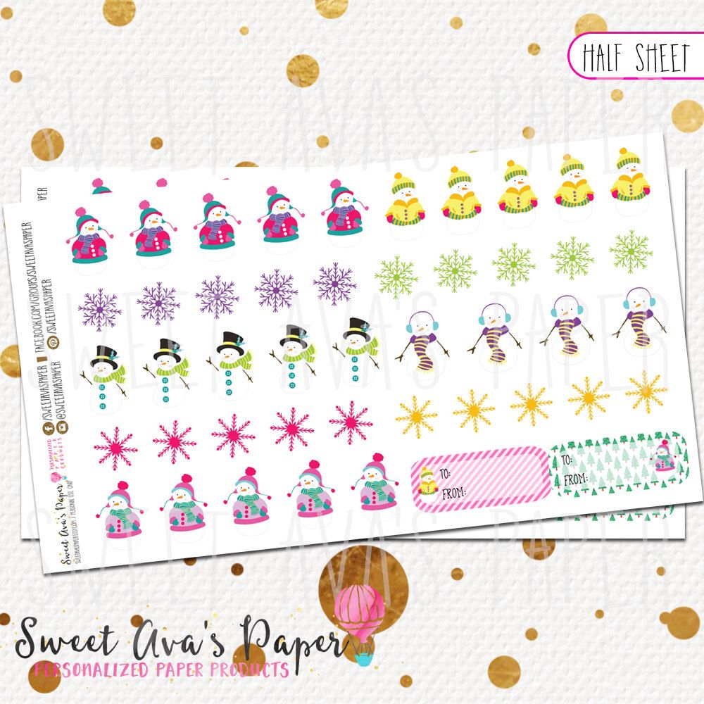 snowman and gift label stickers fits erin condren the happy