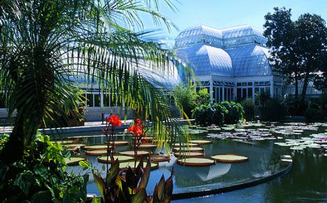 The New York Botanical Garden in the Bronx. Seen here: the reflecting pool at the Enid A. Haupt Conservatory.