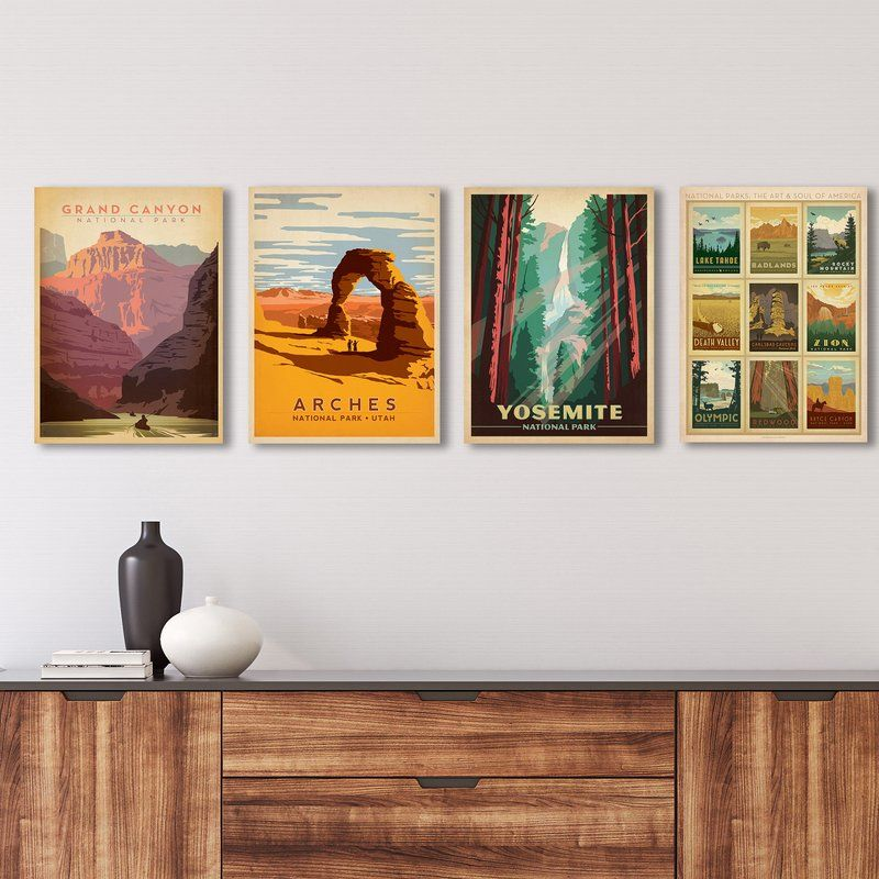 National Parks By Anderson Design Group 4 Piece Wrapped Canvas Advertisements Print Set In 2021 Gallery Wall Gallery Wall Set Canvas Gallery Wall