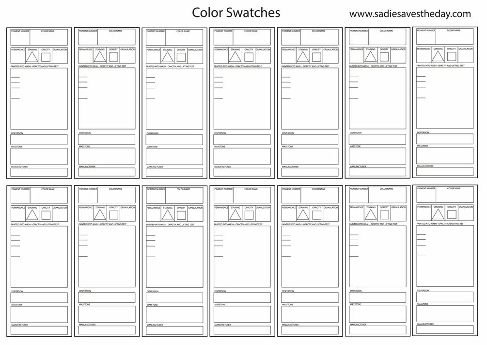 Watercolor Swatch Template In 2020 Color Mixing Chart Acrylic