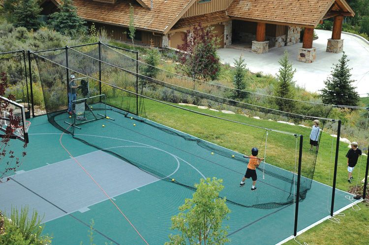Sports court batting cage for the home pinterest for Backyard sports courts