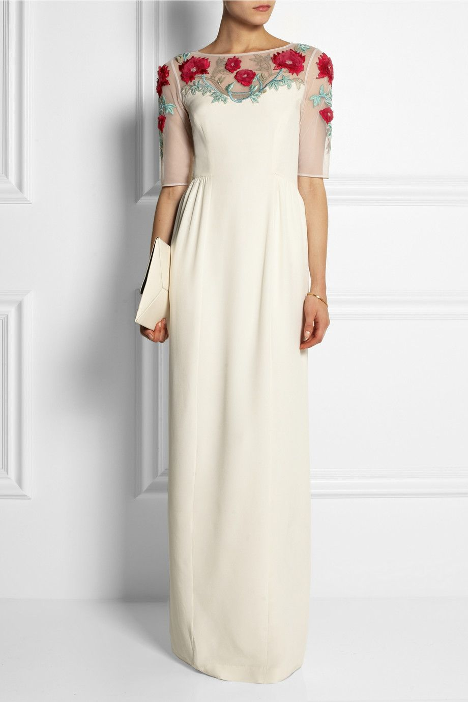 Temperley london magnolia embroidered tulle and stretchsilk gown