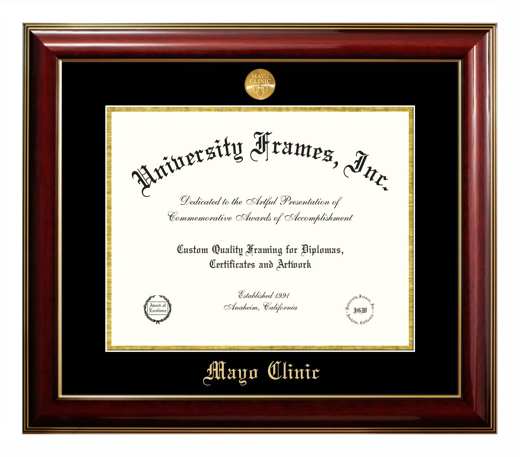 Style Diploma Name Imprint Mayo Clinic Document Size 11 H X 14 W Moulding Classic Mahogany With Gold Trim Primary Mat Diploma Frame Graduation Frame Frame