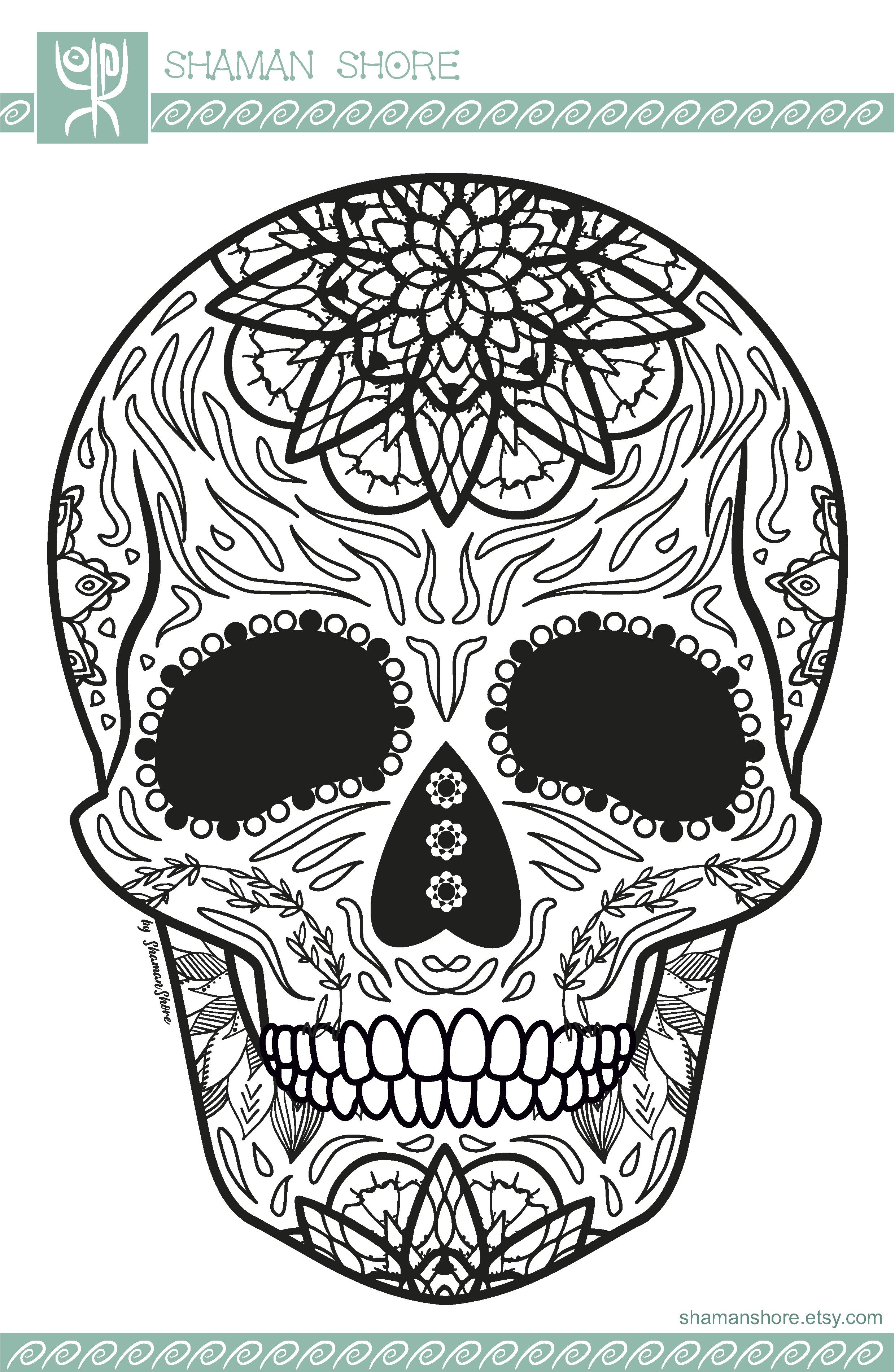 Skull Adult Coloring Book Pdf, Sugar Skull Adult Coloring