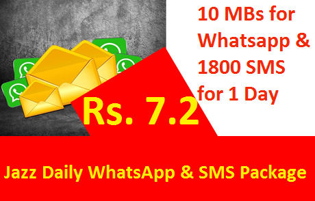 Jazz Daily Whatsapp Sms Package Provides 10 Mbs Mobile Data For Whatsapp 1800 Sms In Rs 7 2 Only With One Day Validity 10 Mbs For Wh In 2020 Mobile Data Sms Jazz