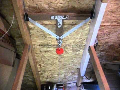 Using A Harbor Freight 880 Lb Winch Thru A Double Pull Trolley Making It A Fast Moving Retractable Stair System Honestly Attic Stairs Diy Stairs Loft Stairs