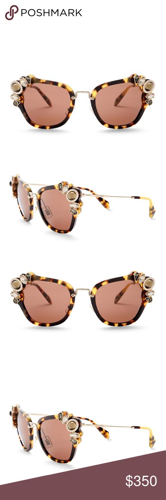 3551d65f93a2 MIU MIU Embellished Crystal Cat Eye Sunglasses NWT