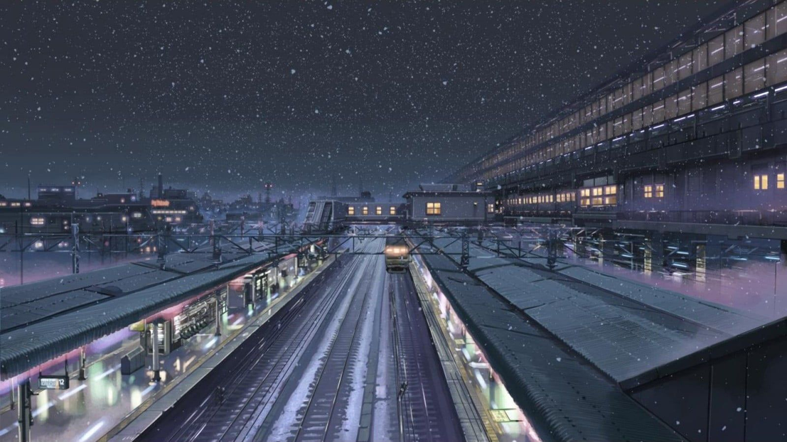 Train Station Animation 5 Centimeters Per Second Makoto Shinkai Snow Train Station Night Winter 720p Wallpaper Hdwallpaper Desktop Hd wallpaper night snow city train