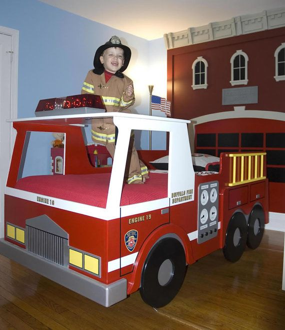 fire truck twin size bed woodworking plan kiddo bedrooms fire rh pinterest com