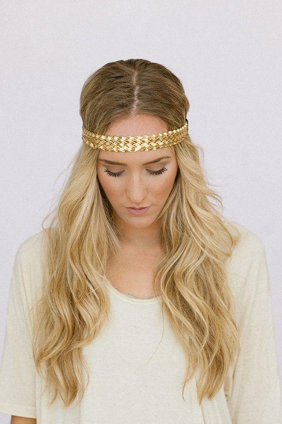 Boho Headbands Braided GOLD Headband Metallic Leatherette Thin Boho  Bohemian Braided Women s Fashion Headband (HB-138B) on Etsy fbddda63c70