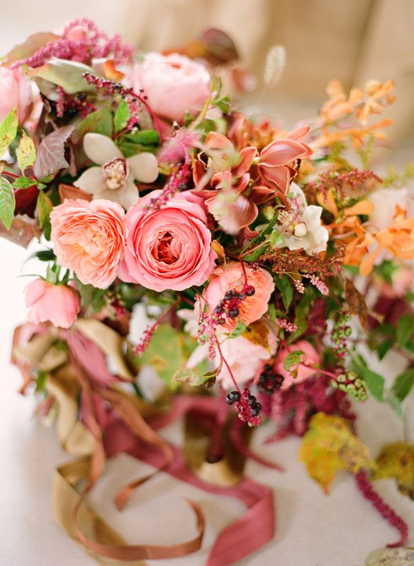 Fall Wedding Bouquets Garden Roses Pink C Orange