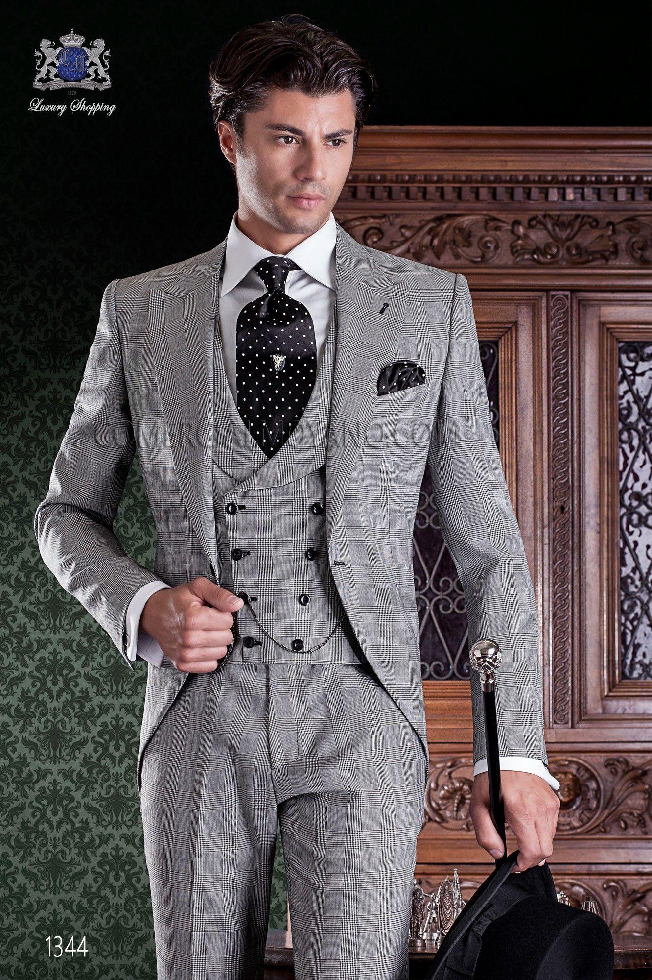 Chaqué de sastrería italiana de elegante corte Slim. Tejido Príncipe de  Gales. 7435dbdac55