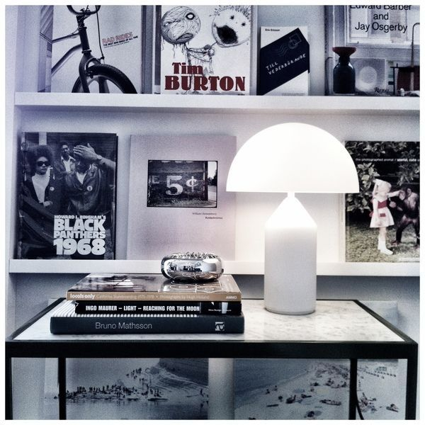 We love the simplicity of the iconic cone and sphere lamp in white.